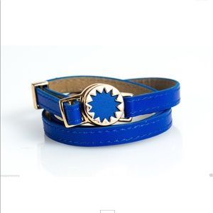 HOUSE OF HARLOW BLUE LEATHER WRAP BRACELET NWOT